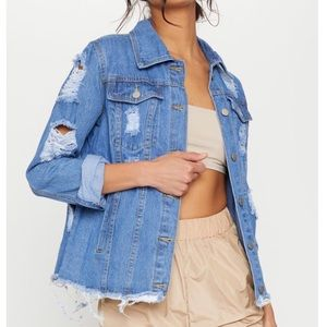 Pretty Little Thing Distressed Denim Jacket